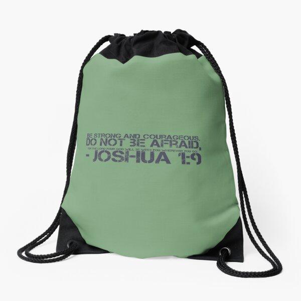 Joshua 1:9 Green Drawstring Bag