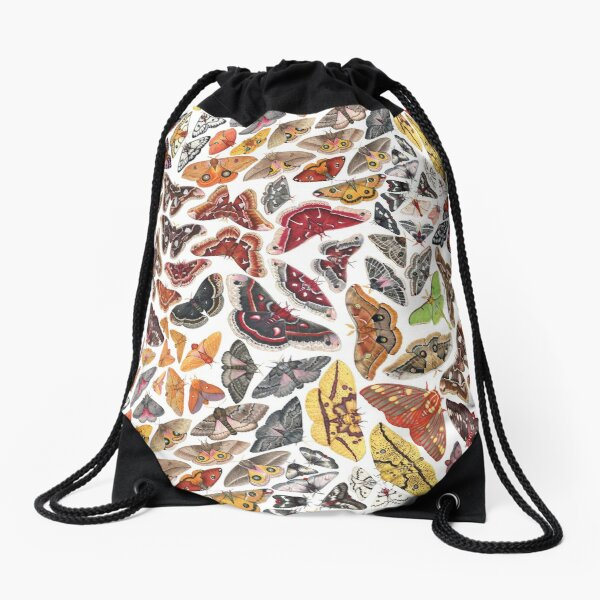 Saturniid Moths of North America Pattern Drawstring Bag