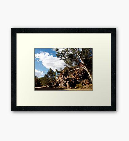 landscapes #210, white on red Framed Print