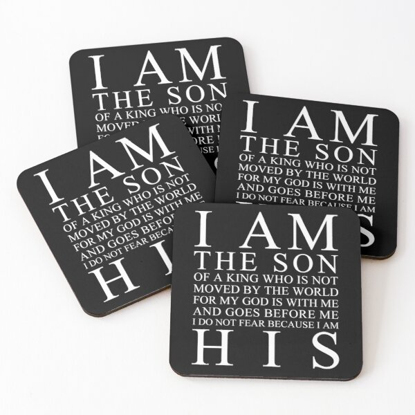 I Am The Son Of A King (Black) Coasters (Set of 4)