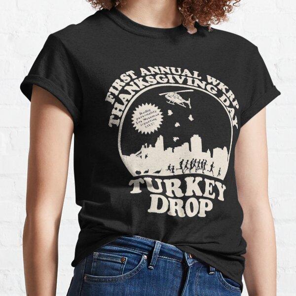 ¡VENDEDOR CALIENTE! WKRP Thanksgiving Turkey Drop Camiseta clásica