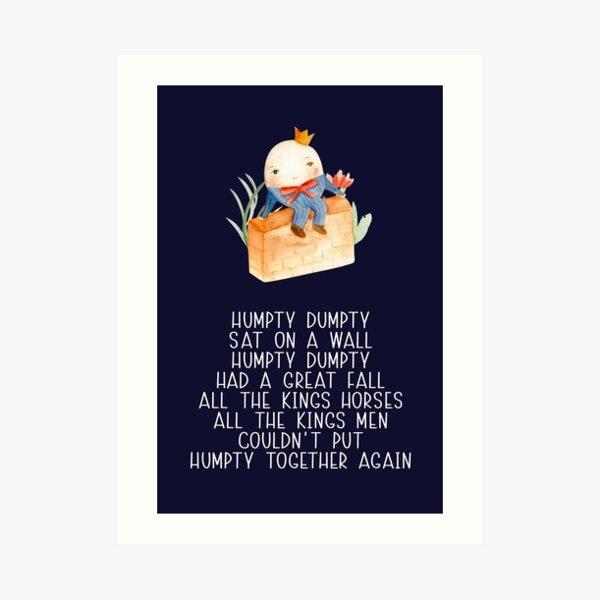Nursery Rhyme - Humpty Dumpty Art Print