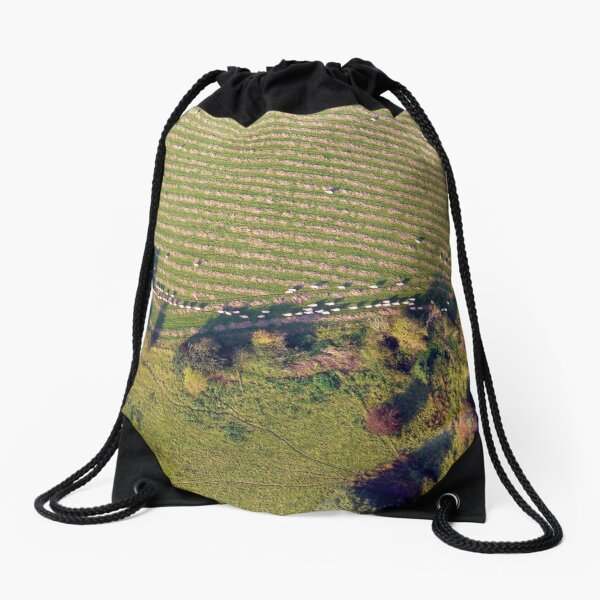 Sheep herding from a hot air balloon Drawstring Bag