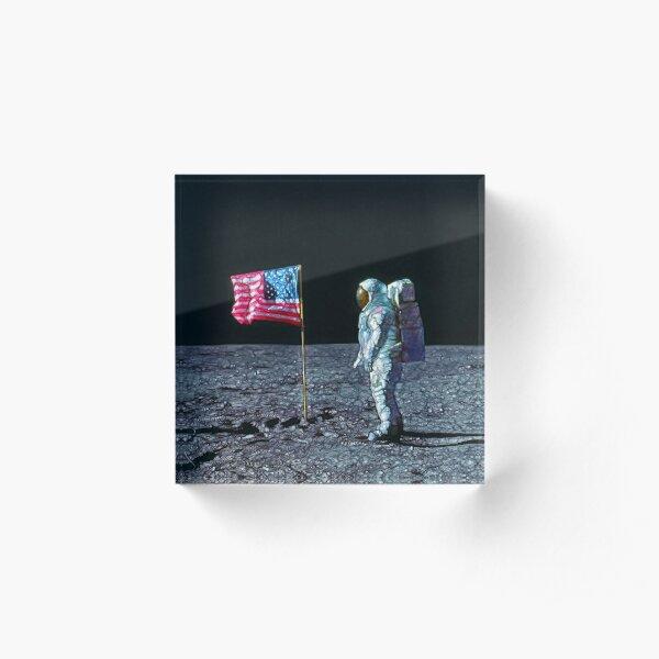 Apollo astronaut and American Flag on the Moon Acrylic Block