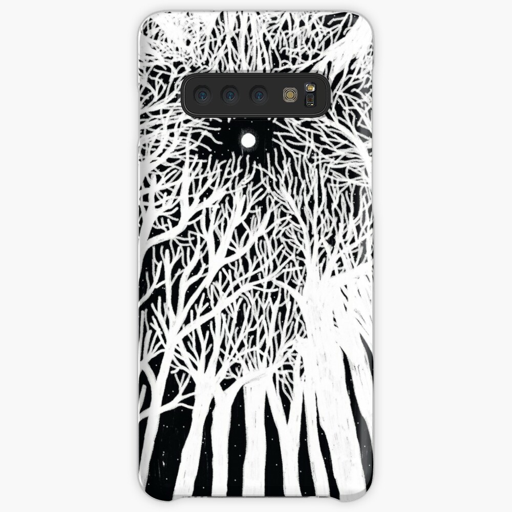 black and white illustration, night in the wood with stars and moon Case & Skin for Samsung Galaxy