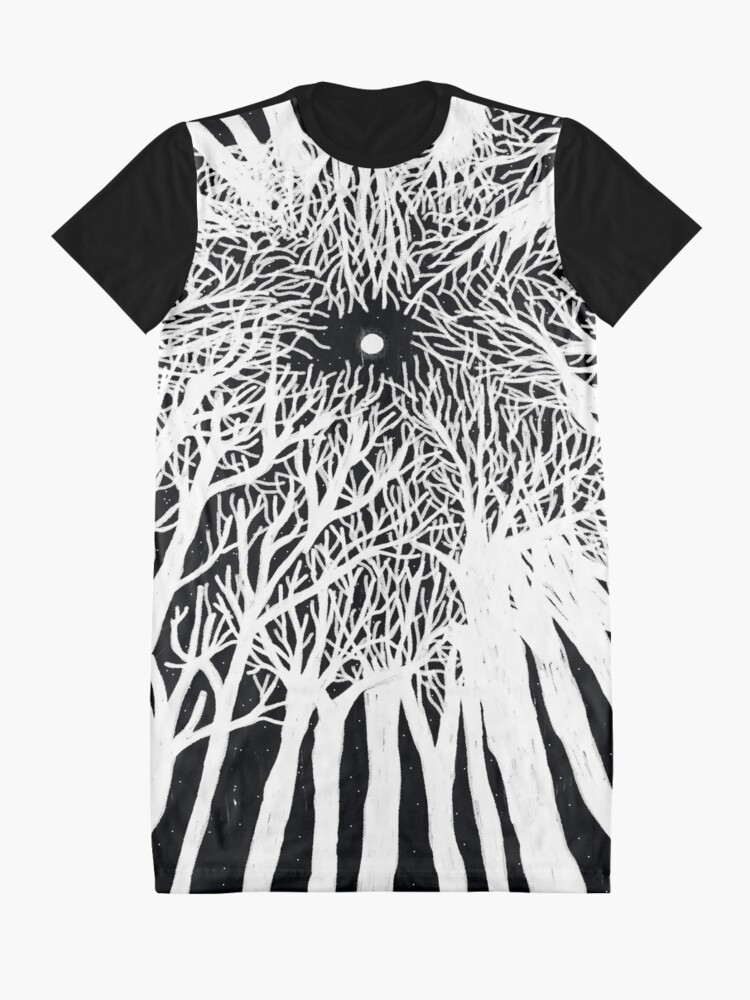 Alternate view of black and white illustration, night in the wood with stars and moon Graphic T-Shirt Dress