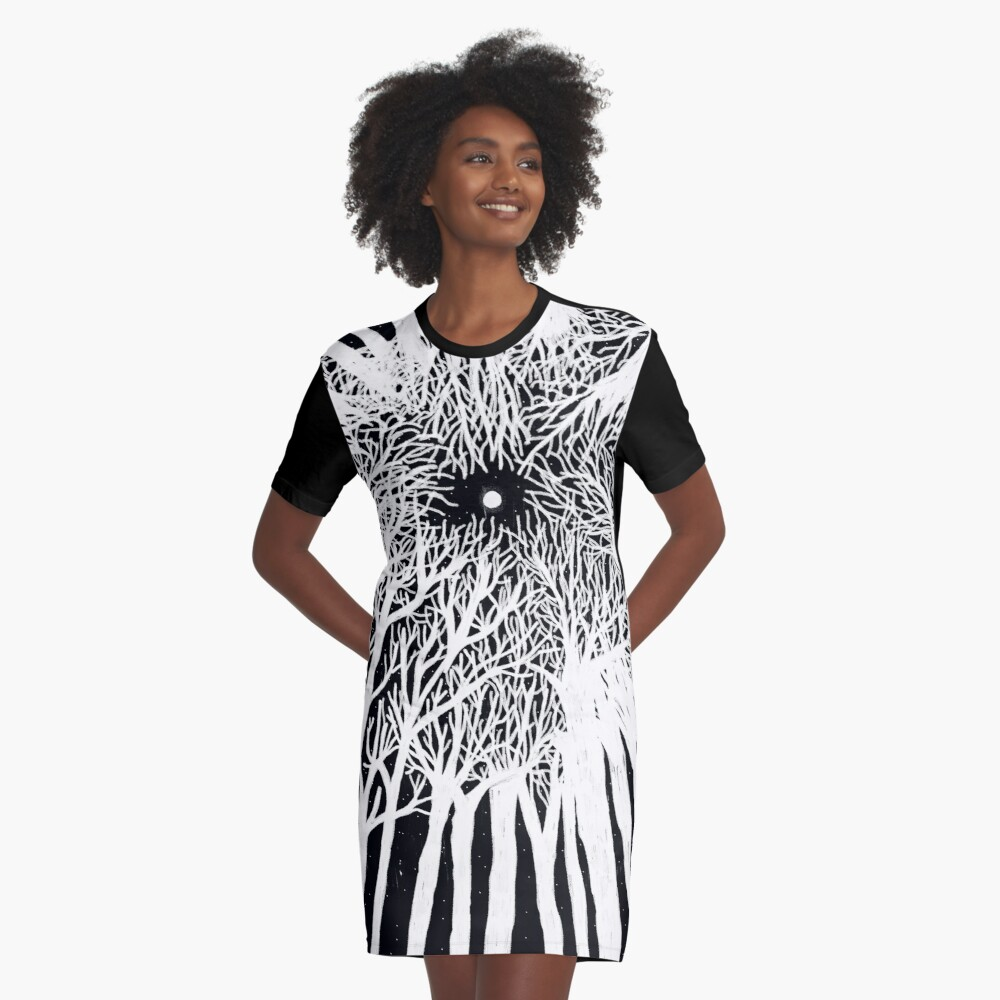 black and white illustration, night in the wood with stars and moon Graphic T-Shirt Dress