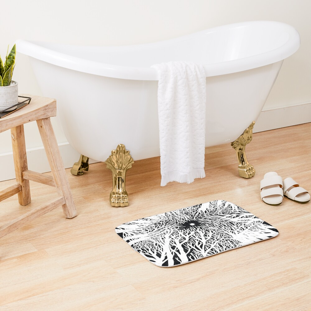 black and white illustration, night in the wood with stars and moon Bath Mat