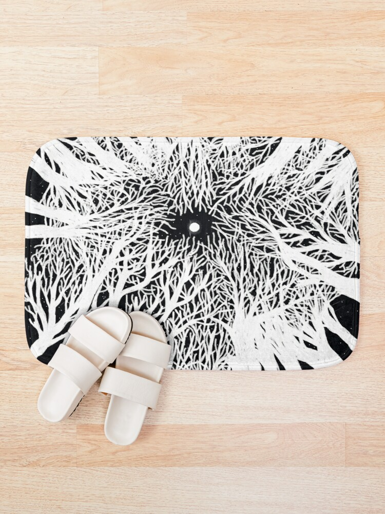 Alternate view of black and white illustration, night in the wood with stars and moon Bath Mat