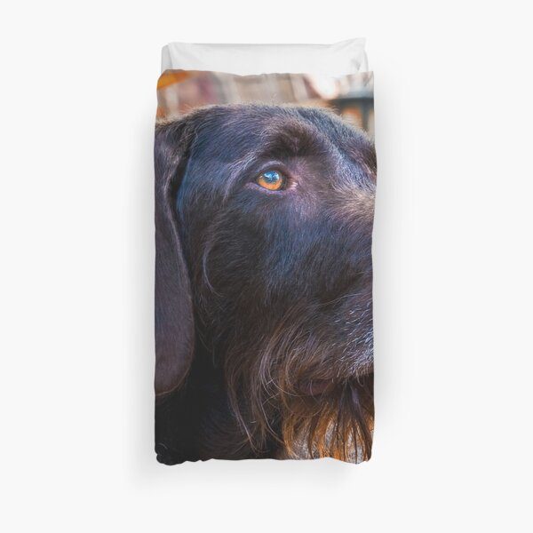German Wirehaired Pointer Portrait Duvet Cover