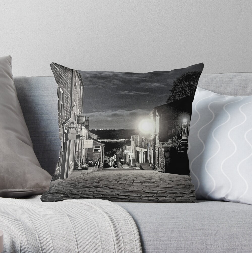 Moonlit Cobbled Main Street in Haworth in Black & White - Bronte Country Throw Pillow