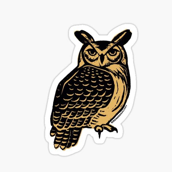 Great Horned Owl Linocut Sticker