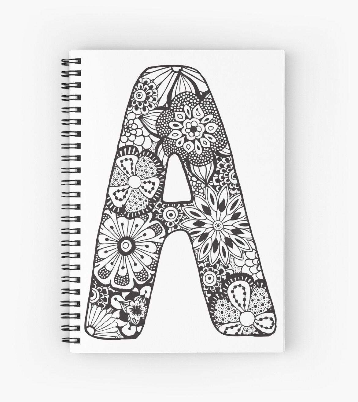 Quot Black Amp White Zentangle Inspired Alphabet Letter A Quot Spiral