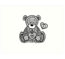 """""""Black&White Zentangle Inspired Teddy Bear with Heart"""" by ..."""