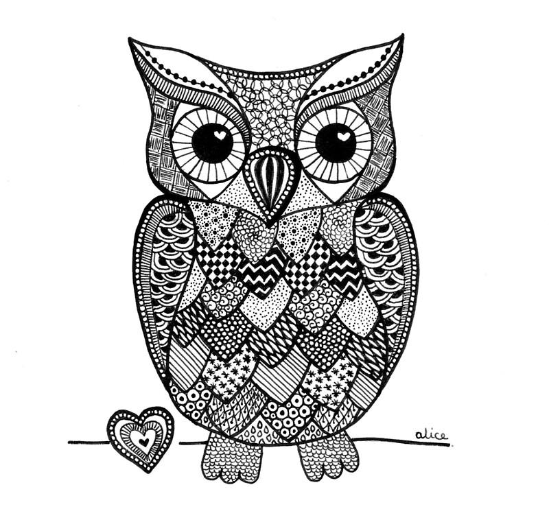 Kleurplaat Katten En Paarden Quot Black Amp White Zentangle Inspired Owl With Heart Quot By Alice