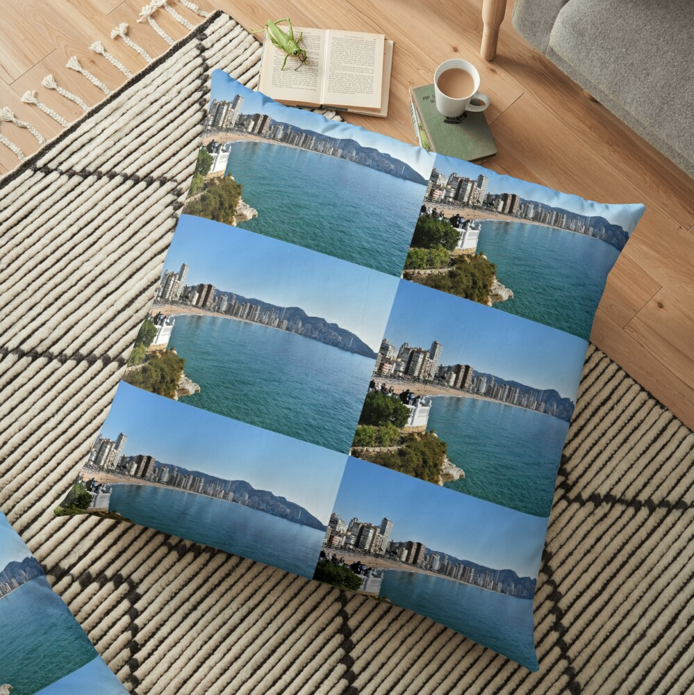 Benidorm, Costa Blanca, Spain - Views of Levante Beach Floor Pillow