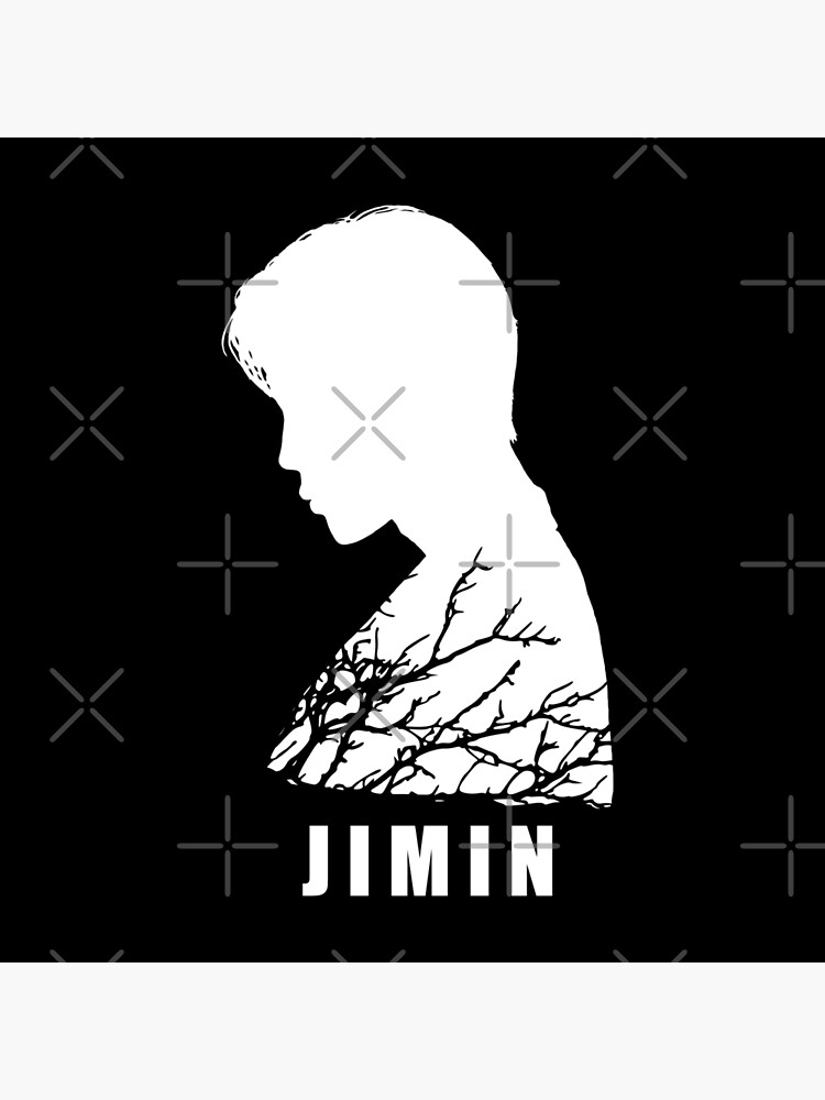 bts jimin side silhouette white and branches bts army kpop rm suga jin j hope jungkook v tote bag by vane22april redbubble redbubble