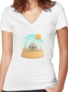 Sand Globe Women's Fitted V-Neck T-Shirt