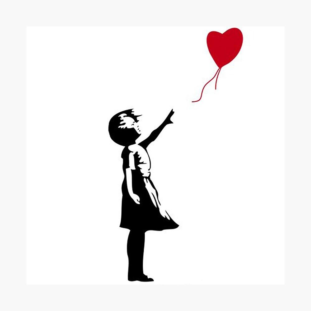 Banksy Fille avec Ballon Coeur à Capuche Unisexe Hipster Fashion Cadeau de Noël
