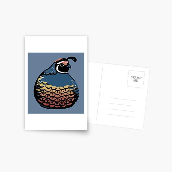 Plump Quail Linocut Bird Postcard