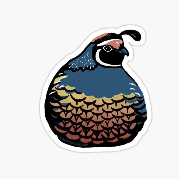 Plump Quail Linocut Bird Sticker