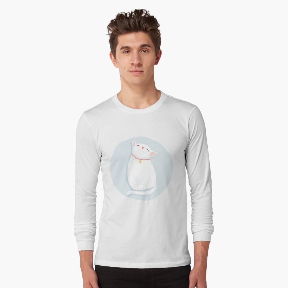 Cat White Long Sleeve T-Shirt