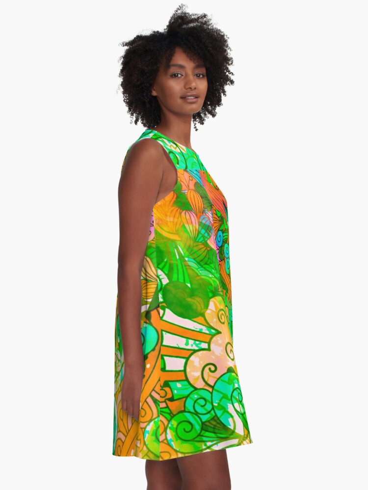 Alternate view of Funky Retro Psychedelic Groovy Design A-Line Dress