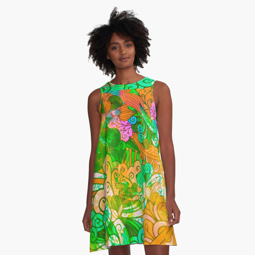 Funky Retro Psychedelic Groovy Design A-Line Dress