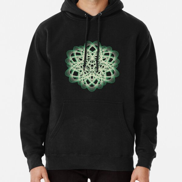 Abstract Sea Green Spiral Lines Pullover Hoodie