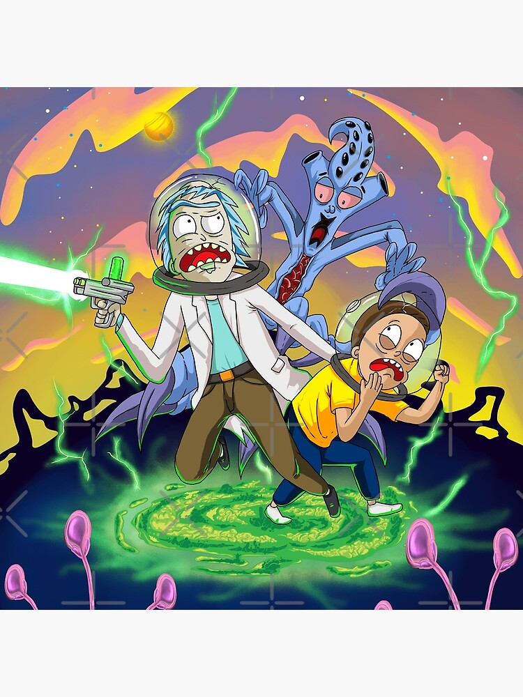 Rick and Morty™ run away from chasing monsters  by unfamouzzz
