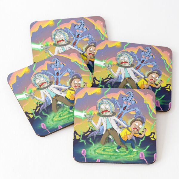 Rick and Morty™ run away from chasing monsters  Coasters (Set of 4)