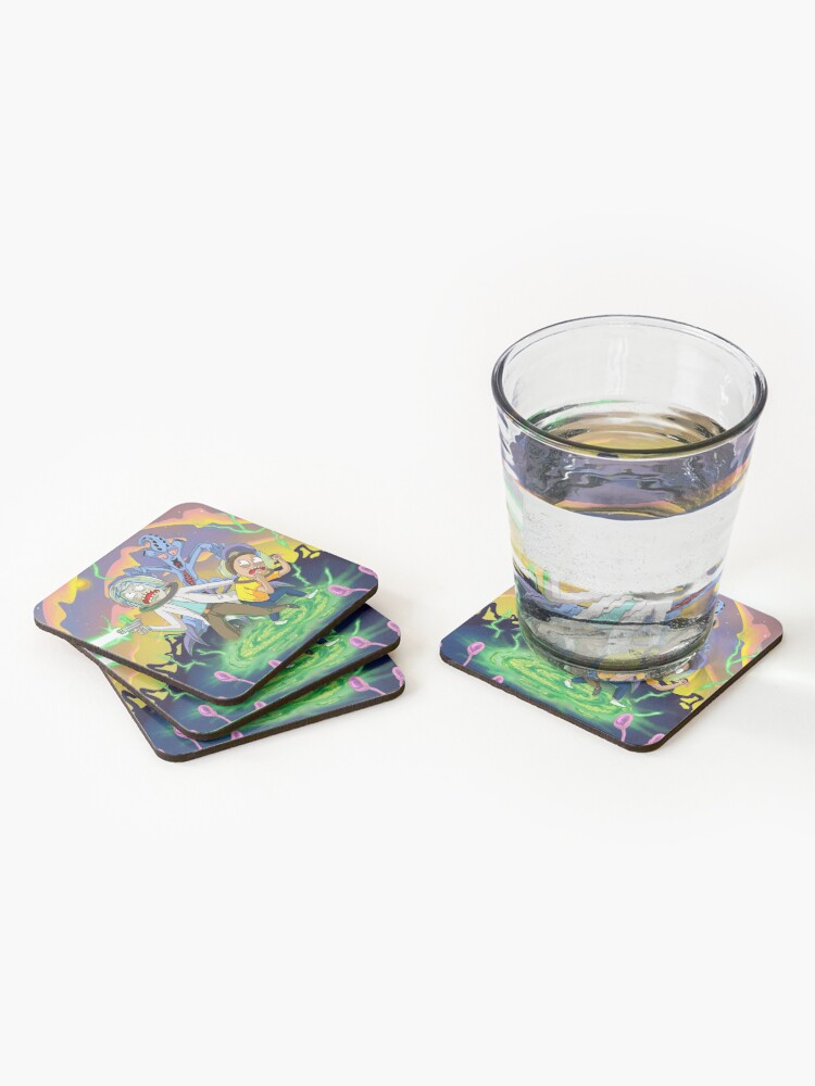 Alternate view of Rick and Morty™ run away from chasing monsters  Coasters (Set of 4)