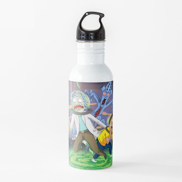 Rick and Morty™ run away from chasing monsters  Water Bottle