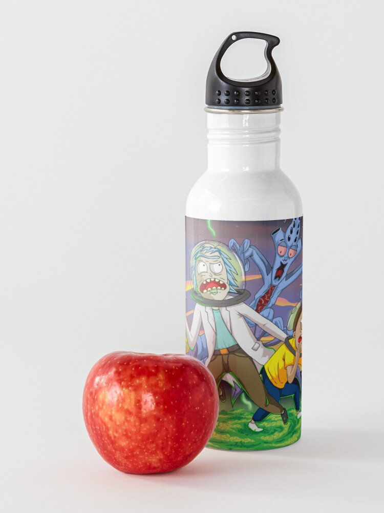 Alternate view of Rick and Morty™ run away from chasing monsters  Water Bottle