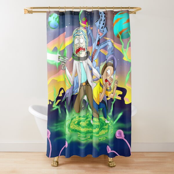 Rick and Morty™ run away from chasing monsters  Shower Curtain