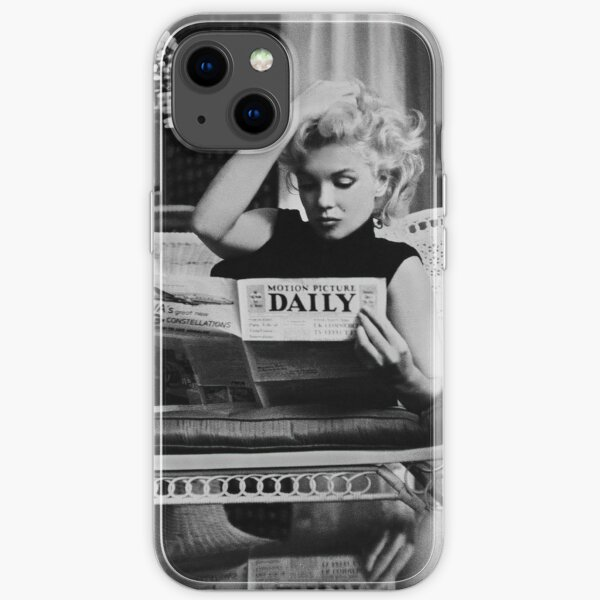 Marilyn Monroe Reading Newspaper. Retro Black and White Photograph iPhone Soft Case