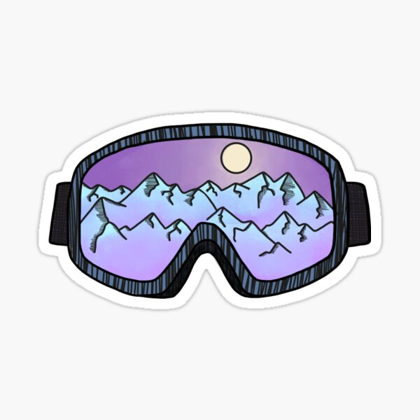 Purple Ski Goggles Sticker