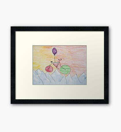 The Adventures Of The Floating Bike Framed Print