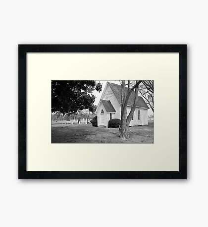 Little White Church in Black and White Framed Print