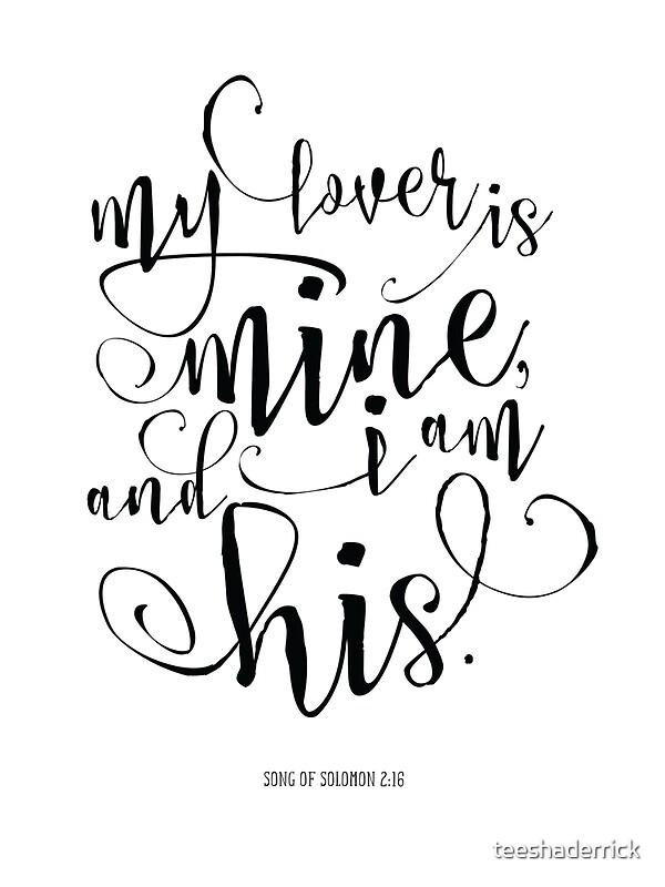 Song Of Solomon 2 16 Bible Verse Calligraphy Art Prints