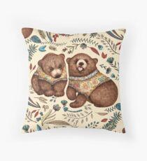 Whimsical Bear Pair with Fantasy Flora  Throw Pillow