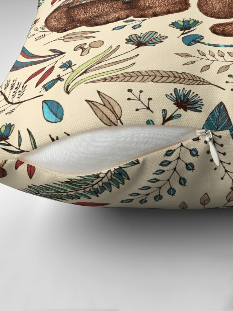Alternate view of Whimsical Bear Pair with Fantasy Flora  Floor Pillow