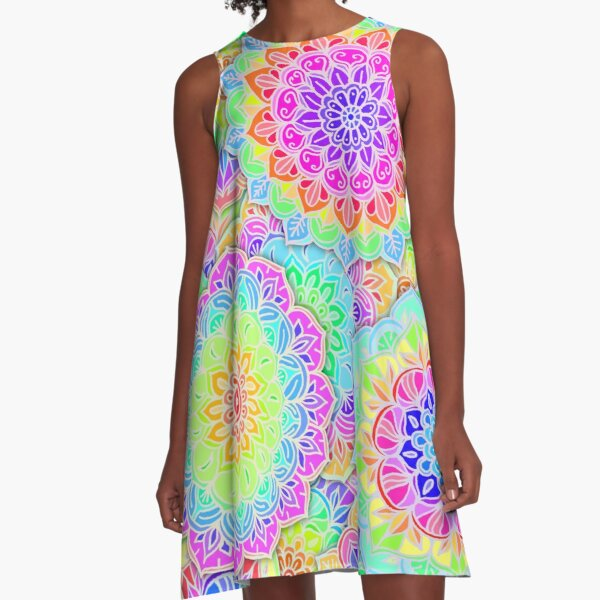 Psychedelic Summer A-Line Dress