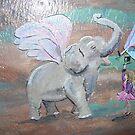 Fairy Village w/ Fairy training a Fairy Elephant by Wendy Crouch