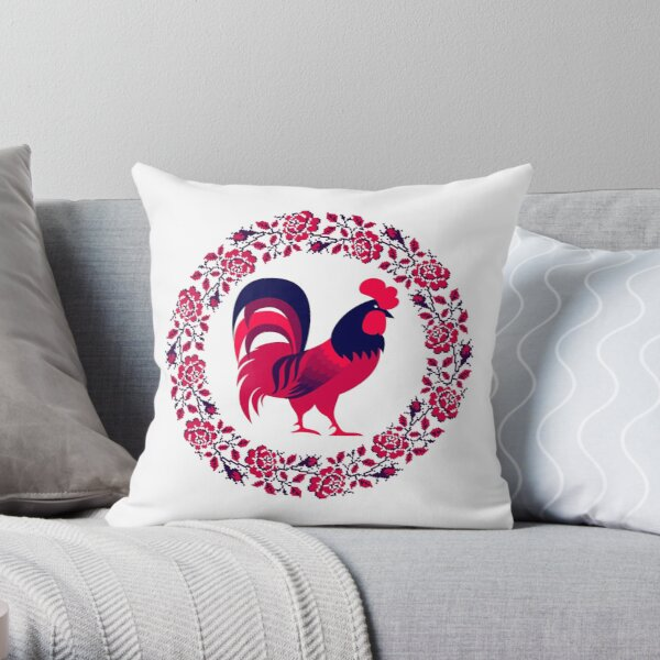 Rooster Blossom Throw Pillow