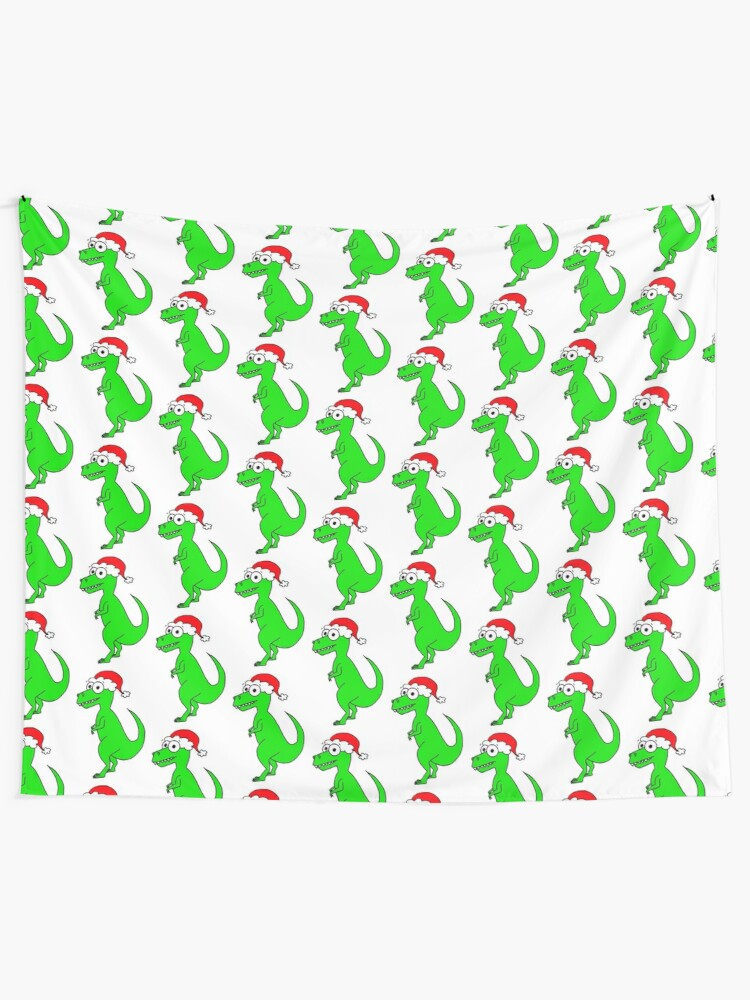 Alternate view of Cute Christmas T-Rex - on white Tapestry