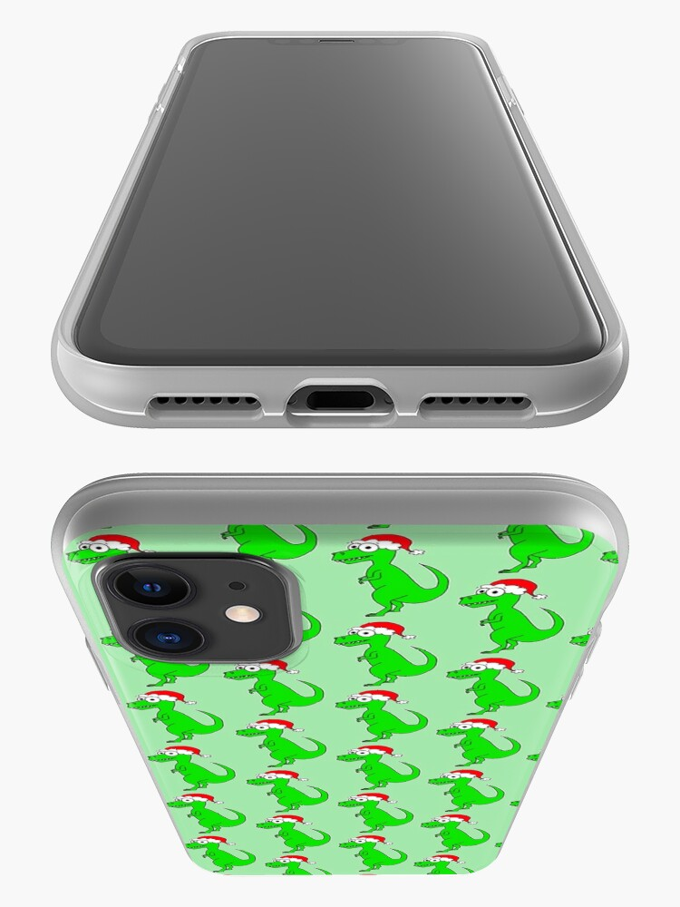 Alternate view of Cute Christmas T-Rex - on green iPhone Case & Cover