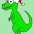 Cute Christmas T-Rex - on green by Adrienne Body