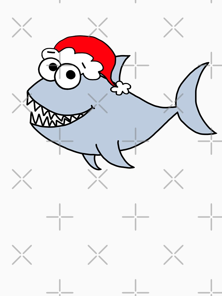 Cute Christmas Shark - on white by AdrienneBody