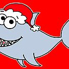 Cute Christmas Shark - on red by Adrienne Body